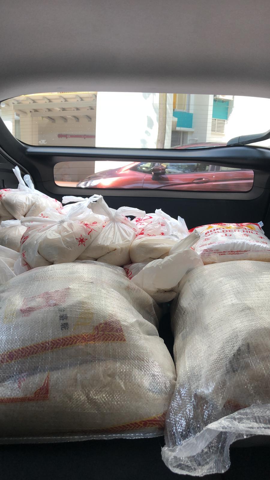 Bags of rice in KC car