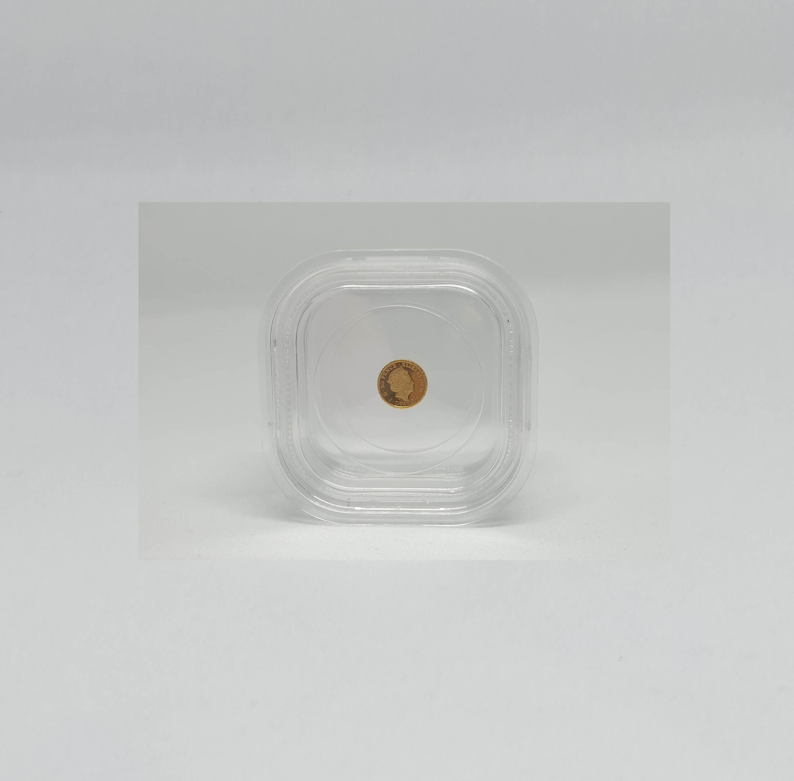 Tiny Gold Coin Collectible in Membrane Storage Box